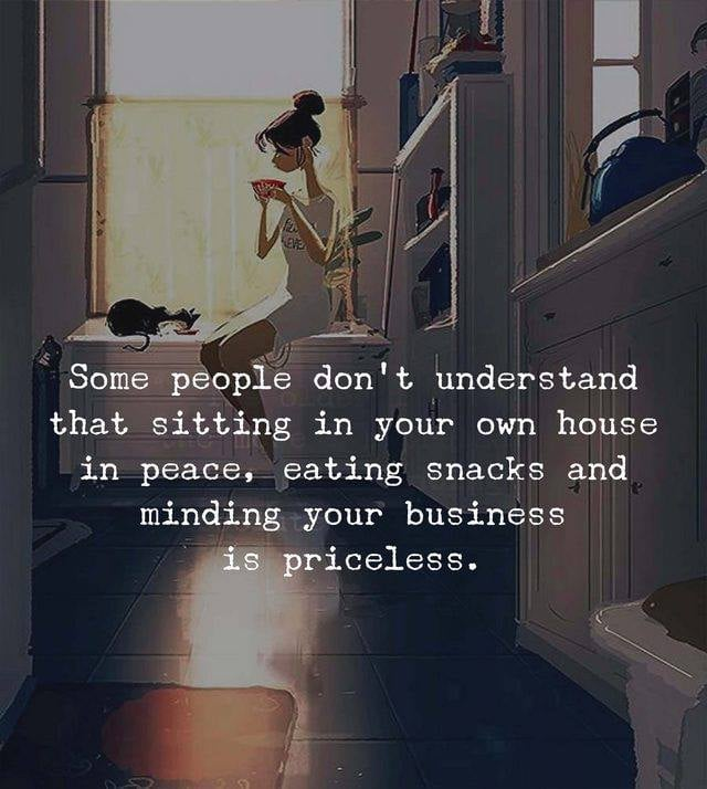 Some people don't understand that sitting in your own house in peace, eating snacks and minding your business is priceless.